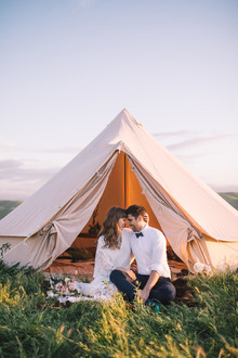 Glamping wedding portrait