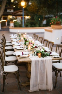 Long elegant rustic table for Rancho Las Lomas wedding