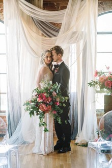 modern feminine warehouse wedding inspiration