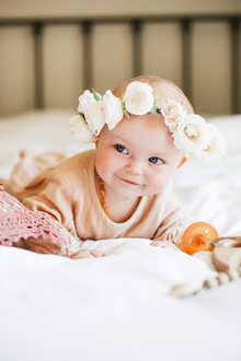 baby girl with flower crown