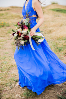 Blue dress engagement photos