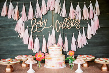 fringe garland baby shower decor