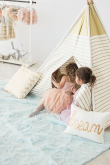 gold and white teepee