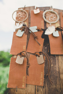 leather dreamcatcher escort cards