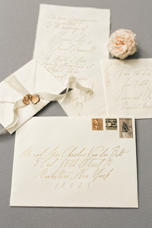 Elegant gold and white custom wedding invitations