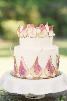 gold leafed pear cake