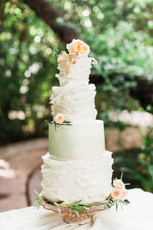 garden inspired ruffle wedding cake