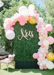 Pink balloon arch for parties