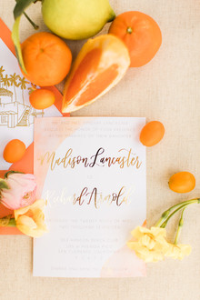 Gold leaf wedding invites