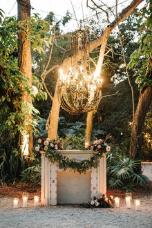 fireplace ceremony decor under lights