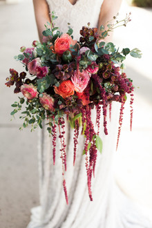 dramatic burgundy wedding bouquet