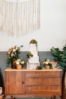 Spanish tile-inspired wedding cake