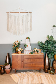 Rustic modern wedding dessert table