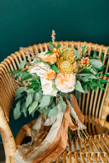 orange and green wedding bouquet