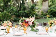 Tropical coral garden wedding