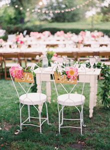 sweetheart table with peony chair decor