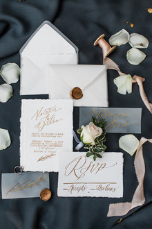 gold calligraphy wedding invites