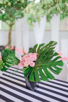 Black and white and pink flamingo birthday party
