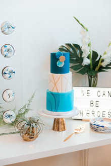 Royal blue heroes baby shower