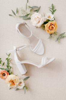 white chunky heel wedding shoes