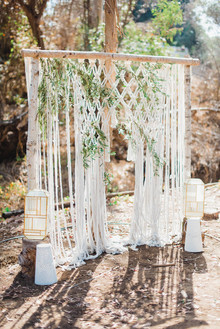 modern macrame wedding backdrop