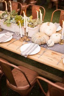 Backyard Thanksgiving feast from Found Rentals