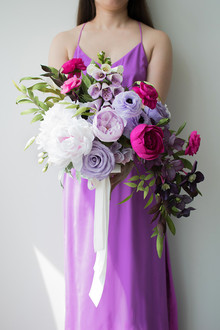 purple paper flower bouquet