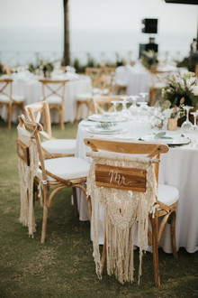 Macrame chair decor for Bali wedding