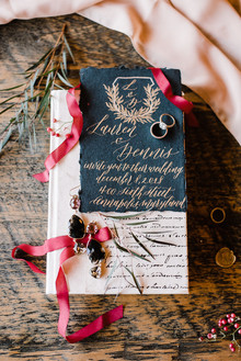 Winter watercolor wedding invites