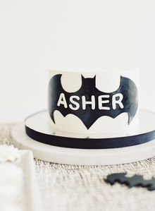 Black and white and pink modern Batman birthday party