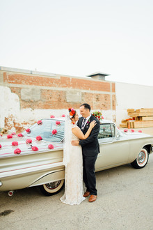 Vintage car wedding portraits