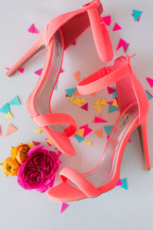 Neon coral wedding shoes