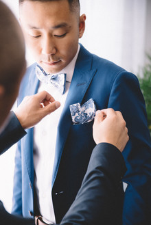 Bright blue groom's suit