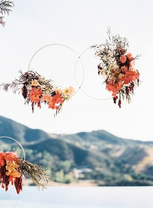 Hanging floral hoop wedding decor