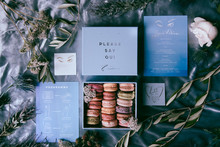 Blue wedding invites for Paris wedding