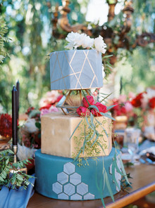 Blue tiered wedding cake
