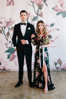 Floral wedding party ideas with The Black Tux