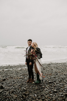 Forest and ocean newlywed shoot