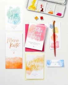 Calligraphy and watercolor escort cards