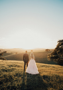 Rustic California wedding with a pink dress
