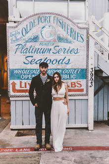 Modern indie nautical inspired elopement with pops of pink