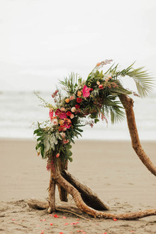 Tropical beach boho vow renewal in Olympic National Park