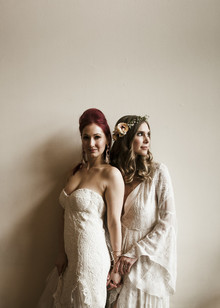 Romantic urban same sex wedding ideas with blush tones