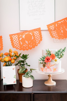 Orange fiesta-themed baby shower