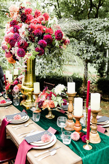 Jewel tone floral explosion at historic Strawberry Mansion in Philadelphia