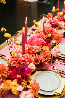 Ultra colorful wedding design inspired by Indian floral garlands and Day of the Dead