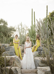 Lemon yellow bridesmaid dresses for spring