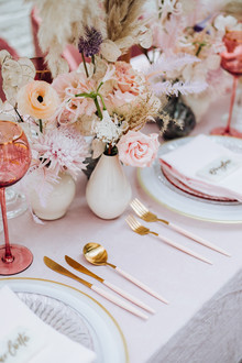 Rosé inspired wedding decor at the Foundry in NYC