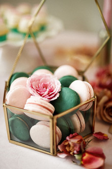 emerald and blush macarons