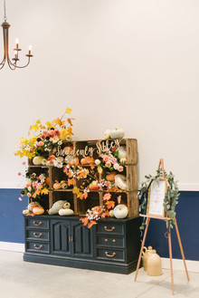 fall wedding decor with pumpkins
